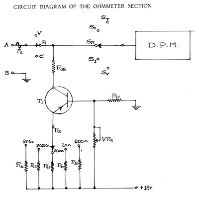 schematics of delabs ohmmeter simple resistance measurement rh schematics dapj com Digital Ohmmeter Check Spark Plugs with Ohmmeter