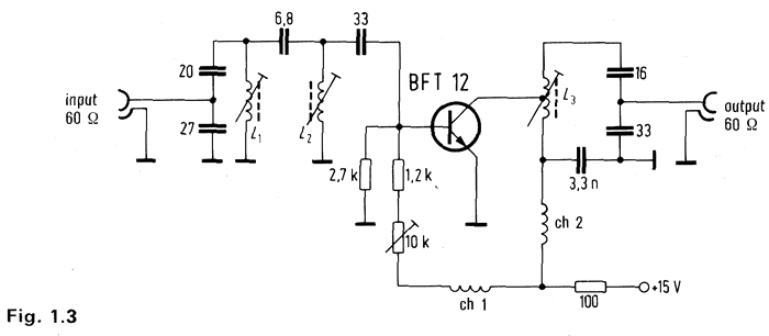 Antenna-amplifier with BFT 12 for FM-range